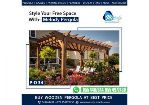 Balcony Attached Pergola | Pergola With Decking | Wooden Pergola Suppliers in Dubai