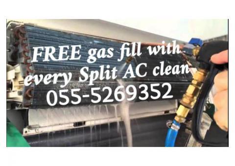 emergency ac services 055-5269352 free gas fill split clean repair handyman